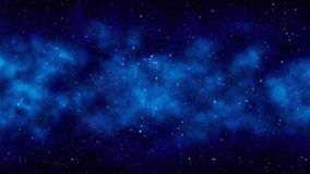 Fondo estrellado con las estrellas brillantes, nebulosa del espacio del azul de cielo de la noche imagen de archivo