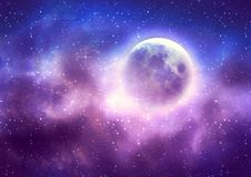 Fondo estrellado del cielo y Luna Llena ilustración del vector