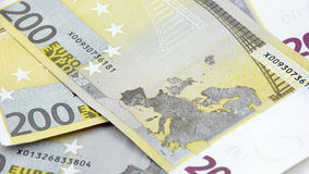 fondo euro de 200 billetes de banco Fotografía de archivo libre de regalías