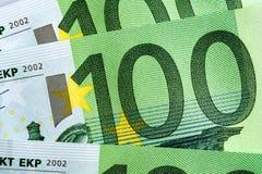 Fondo euro de 100 billetes de banco Imagen de archivo libre de regalías