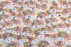 Fondo euro de cincuenta billetes de banco. Foto de archivo libre de regalías