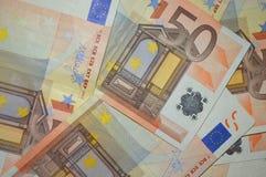 Fondo euro de cincuenta billetes de banco Fotos de archivo libres de regalías