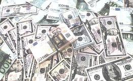 Fondo euro de la acuarela del dinero de los billetes de banco del dólar fotos de archivo libres de regalías