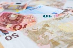 Fondo euro de la moneda Fotografía de archivo
