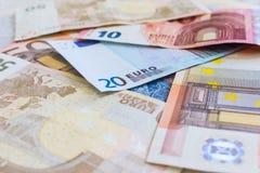 Fondo euro de la moneda Foto de archivo libre de regalías