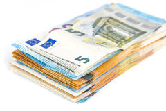 Fondo euro de las cuentas de los billetes de banco de la moneda de la unión europea euro 2, 10, 20 y 50 Economía de los ricos del Fotos de archivo