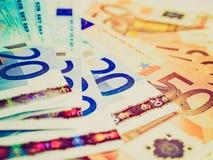 Fondo euro de los bankonotes de la mirada retra Fotografía de archivo libre de regalías