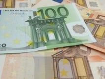 Fondo euro de los billetes de banco Fotografía de archivo