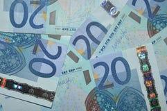 Fondo euro de veinte billetes de banco Fotografía de archivo