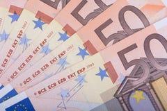 Fondo euro del dinero Cincuenta billetes de banco euro Moneda de la unión europea Fotos de archivo libres de regalías