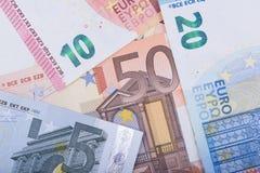 Fondo euro del dinero Notas euro con la reflexión Moneda de la unión europea Imagen de archivo libre de regalías
