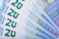 Fondo euro del dinero Veinte billetes de banco euro Moneda de la unión europea Imagen de archivo libre de regalías