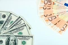 Fondo, euro e dollari monetari Fotografia Stock Libera da Diritti