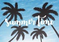 Fondo exótico de las vacaciones de verano Cielo con el ejemplo del vector de las palmas fotografía de archivo libre de regalías