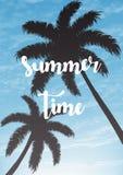 Fondo exótico de las vacaciones de verano Cielo con el ejemplo del vector de las palmas imagen de archivo libre de regalías