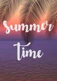Fondo exótico de las vacaciones de verano Ejemplo del vector de la puesta del sol foto de archivo
