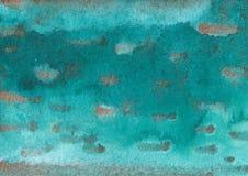 Fondo exhausto de la tinta de la turquesa y del oro del extracto de la acuarela de la mano fotos de archivo