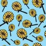 Fondo exhausto del modelo de flores del sol de la mano inconsútil libre illustration