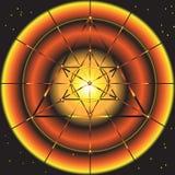 Fondo fantastico astratto dello spazio con il simbolo della stella illustrazione vettoriale