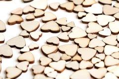 Fondo fatto dei cuori di legno Immagine Stock Libera da Diritti