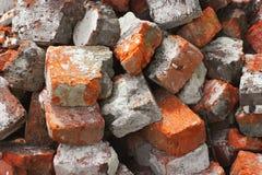 Fondo fatto dei mattoni Mattoni ad un cantiere immagine stock