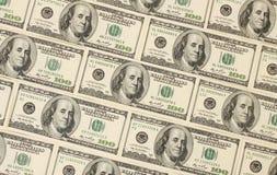 Fondo fatto di cento banche del dollaro Fotografie Stock Libere da Diritti