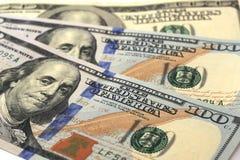 Fondo fatto di cento banconote del dollaro Fotografia Stock