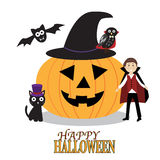 Fondo felice con le zucche spaventose, gufo spettrale di Halloween Fotografia Stock