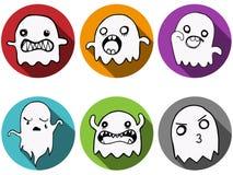 Fondo felice dell'icona del pipistrello del fantasma di Halloween Fotografia Stock