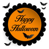 Fondo felice dell'icona del pipistrello del fantasma di Halloween Immagini Stock