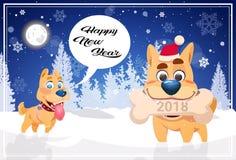 Fondo felice dell'insegna di vacanze invernali con i cani svegli sopra il concetto 2018 di Snowy Forest New Year di notte Immagini Stock