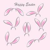 Fondo felice della cartolina dell'estratto di pasqua Maschere delle orecchie di coniglio su fondo bianco Immagine Stock Libera da Diritti
