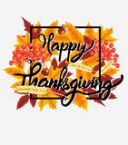 Fondo felice di celebrazione di ringraziamento Zucca, foglie, Rowan Berries, ghiande Fotografia Stock