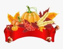 Fondo felice di celebrazione di ringraziamento Zucca, foglie, Rowan Berries, ghiande Fotografie Stock Libere da Diritti