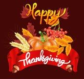 Fondo felice di celebrazione di ringraziamento Zucca, foglie, Rowan Berries, ghiande Immagine Stock