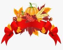 Fondo felice di celebrazione di ringraziamento Zucca, foglie, Rowan Berries, ghiande Immagini Stock