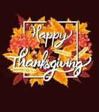 Fondo felice di celebrazione di ringraziamento Zucca, foglie, Rowan Berries, ghiande Fotografie Stock