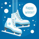 Fondo felice di concetto del pattino da ghiaccio di inverno, stile piano illustrazione di stock