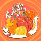 Fondo felice di concetto dell'alimento di ringraziamento, stile disegnato a mano illustrazione vettoriale