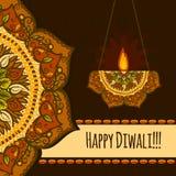 Fondo felice di concetto di festival di diwali, stile disegnato a mano royalty illustrazione gratis