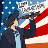 Fondo felice di concetto di giorno di Colombo, stile disegnato a mano illustrazione di stock