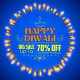 Fondo felice di Diwali decorato con luce illustrazione di stock