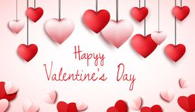 Fondo felice di giorno di biglietti di S. Valentino con i palloni a forma di del cuore illustrazione vettoriale