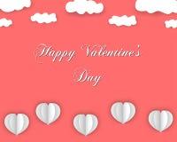 Fondo felice di giorno di biglietti di S. Valentino nello stile della carta illustrazione di stock