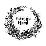 Fondo felice di giorno del ` s della madre, distintivo di celebrazione, etichetta, icona Testo, invito della carta, modello Illus Immagine Stock Libera da Diritti