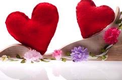 Fondo felice di giorno di biglietti di S. Valentino su bianco Fatto a mano per Fotografia Stock