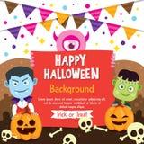 Fondo felice di Halloween con il costume di Frankenstein e del vampiro Immagine Stock Libera da Diritti