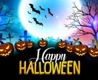 Fondo felice di Halloween con le zucche spaventose nel cimitero Immagini Stock