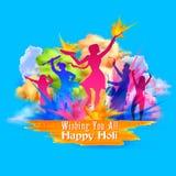 Fondo felice di Holi per il festival dei saluti di celebrazione di colori illustrazione vettoriale