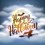 Fondo felice di notte di Halloween con iscrizione scritta a mano fotografie stock